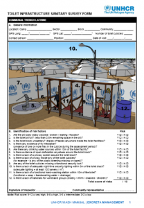 Toilet Infrastructure Sanitary Survey Form (UNHCR, 2015)